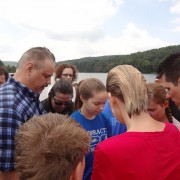 Praying together before the Baptisms at Chapman Dam