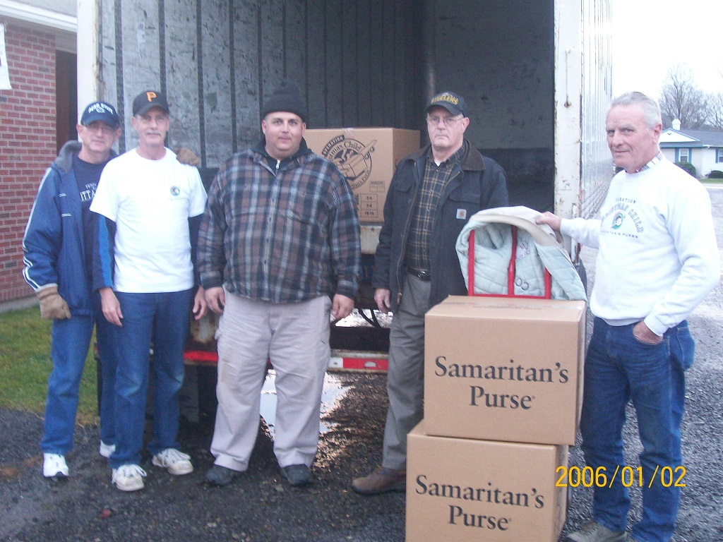 PCC members loading one of the trailers.